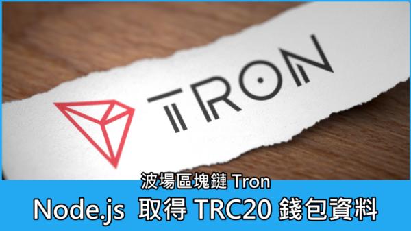 Node.js 取得 波場區塊鏈 Tron (TRC or TRC20) 錢包資料